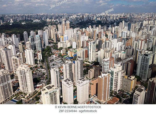 Sao Paulo cityscape seen from the air during the approach to Congonhas airport, Sao Paulo, Brazil