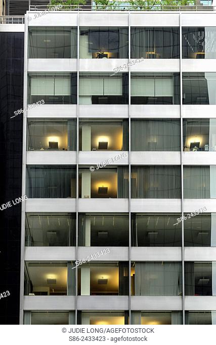 Windowed Facade of a Park Avenue, New York City Office Building