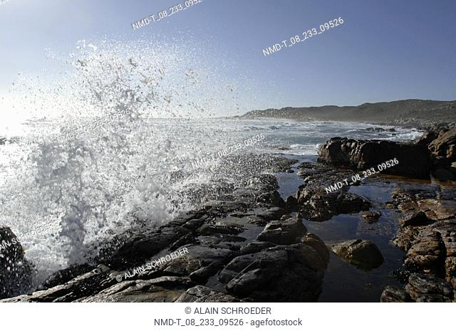 Waves breaking at the coast, Cape Peninsula National Park, Cape Town, Western Cape Province, South Africa