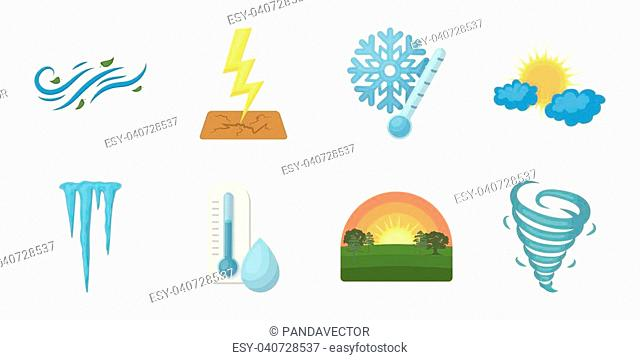 Different weather icons in set collection for design.Signs and characteristics of the weather vector symbol stock illustration