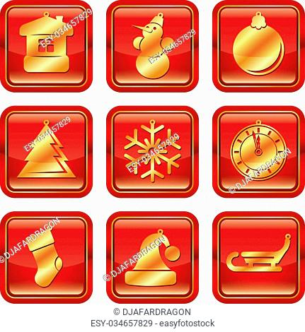 New Year Christmas red gold vector icon set