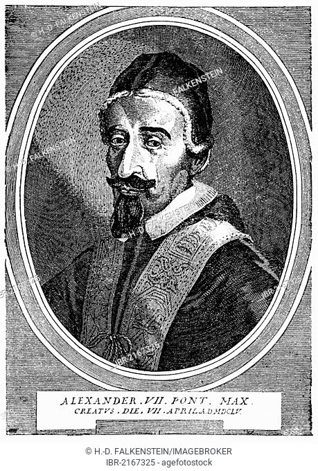 Historical illustration from the 19th Century, portrait of Alexander VII or Fabio Chigi, 1599 - 1667, Pope of the Catholic Church from 1655 to 1667