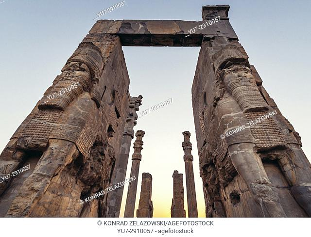 Ruins of the Gate of All Nations, part of Persepolis, ancient city of Persians, ceremonial capital of Achaemenid Empire in Iran