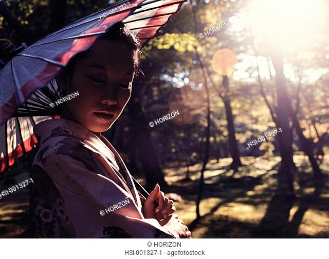 Travel, Japan, Lifestyle, Woman with parasol, Portrait