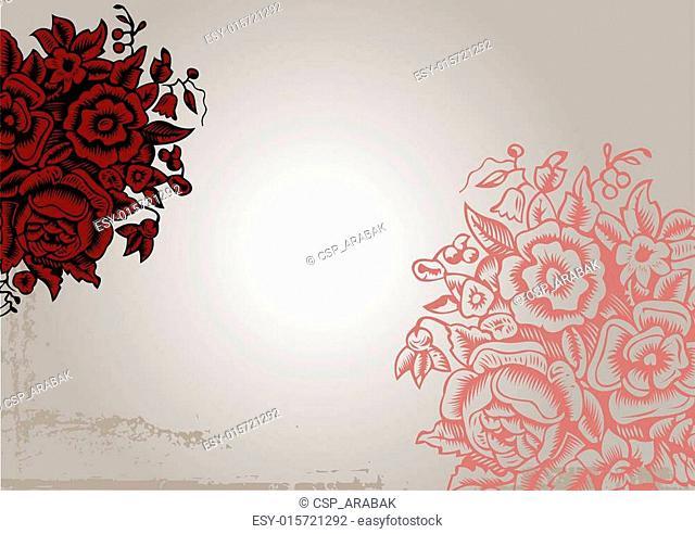 Original Vintage Red Flower Background
