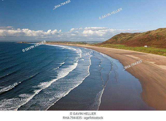 Rhossilli Bay, Gower Peninsula, Glamorgan, Wales, United Kingdom, Europe