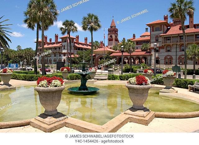 Fountain at Lightner Museum looking across King Street at Flagler College, St  Augustine, Florida, USA