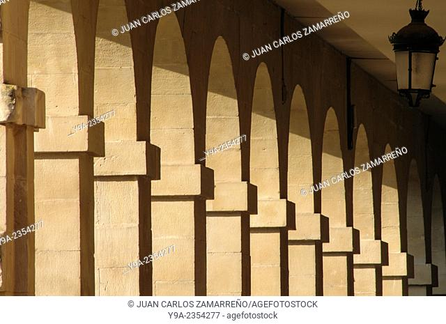 Plaza Mayor arcades at Logrono,La Rioja,northern Spain