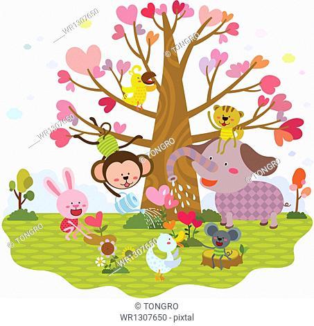 illustration of animals around a heart tree