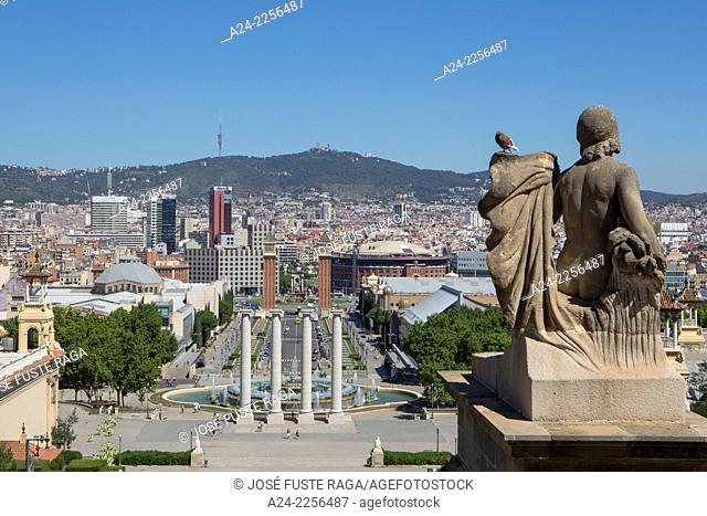 Spain , Catalunya,Barcelona City ,Sans Distric,View from Montjuich Hill, España Square , Venetian Towers