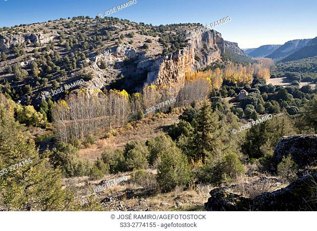 Canyon of river Riaza. Segovia. Castilla Leon. Spain. Europe