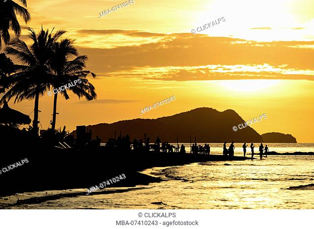 Las Cabanas Beach at sunset, El Nido, Palawan, Philippines