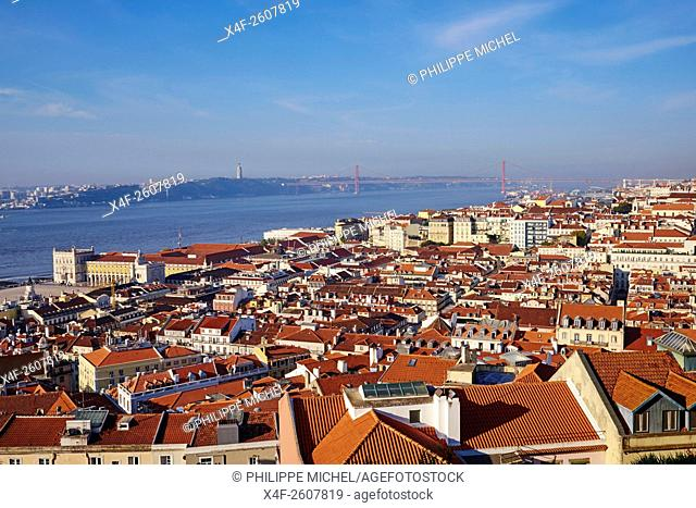 Portugal, Lisbon, city view, Tagus and 25 April bridge