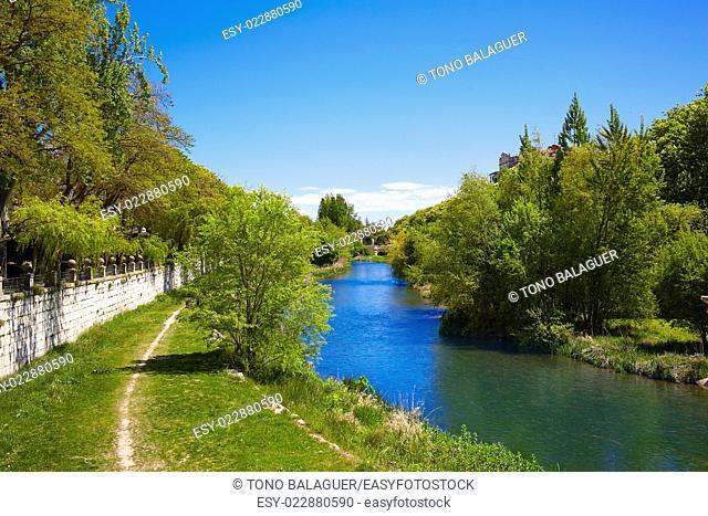 Burgos Arlanzon river in Castilla Leon of Spain