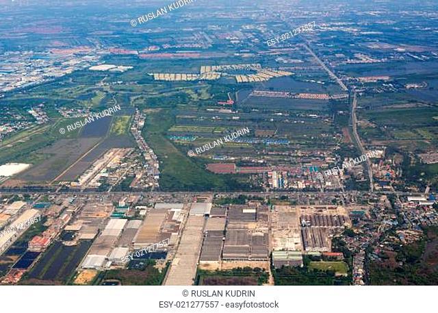 Aerial view over Bangkok suburb