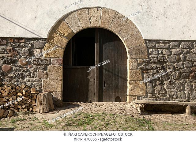 Door of Basque farmhouse, Zubieta, Navarre, Spain