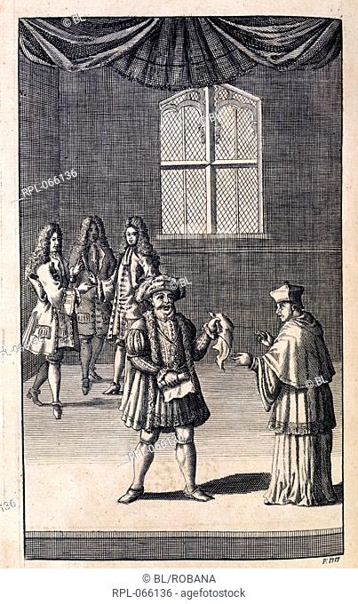 Henry VIII holding a torn document before a cardinal. Image taken from The works of Mr. William Shakespear, in six volumes Revised and corrected