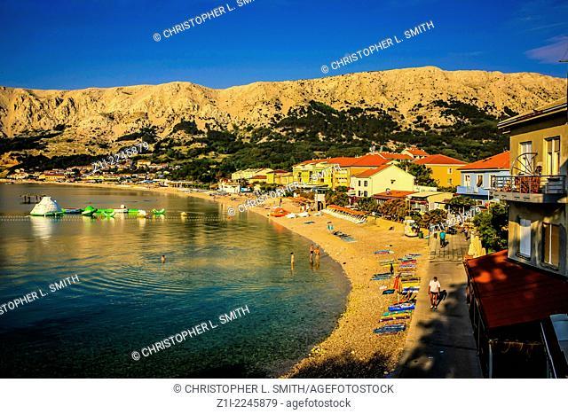 Baska tourist village apartments on the island of Krk in Croatia at sunrise