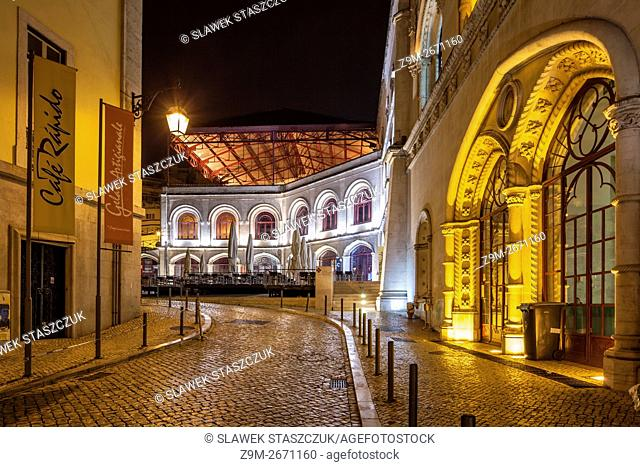 Before dawn at Rossio Station in Lisbon, Portugal