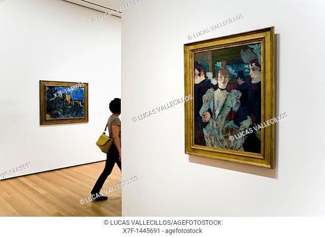 MoMA  Museum of Modern Art Right, Henri Toulouse Lautrec, La goulveat the moulin rouge  Left, Paul Cézane, Châteurnoir,New York City, USA