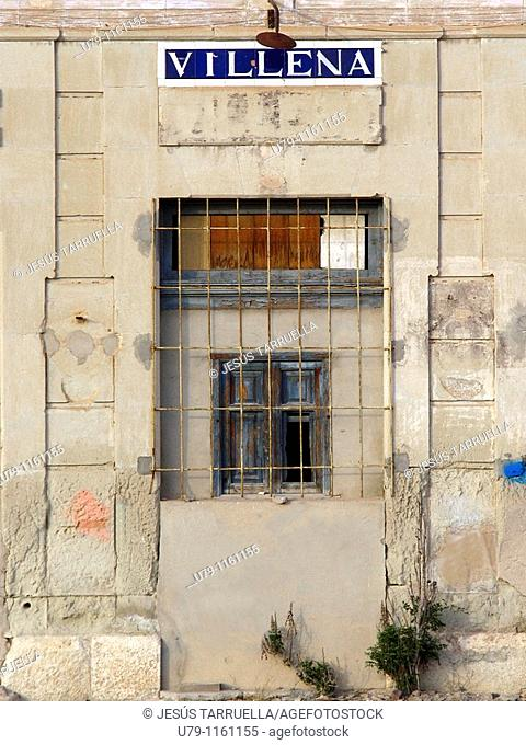 Detail dismantled door on former railway station narrow gauge Villena. Train Chicharra. Alicante. Valencia. Spain. Europe