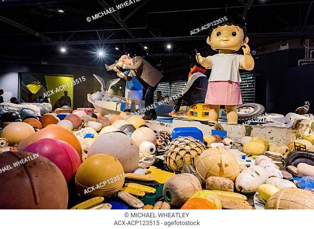 Douglas Coupland's Vortex, Plastic awareness ocean garbage, art installation, Vancouver Aquarium, Stanley Park, Vancouver, British Columbia, Canada