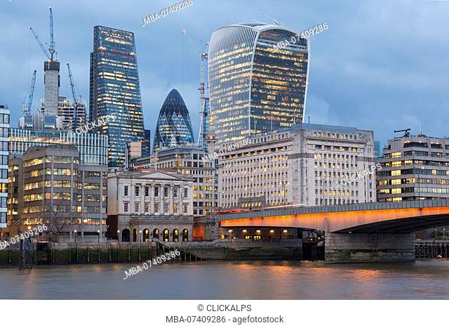 City of London with London Bridge, London, Great Britain, UK