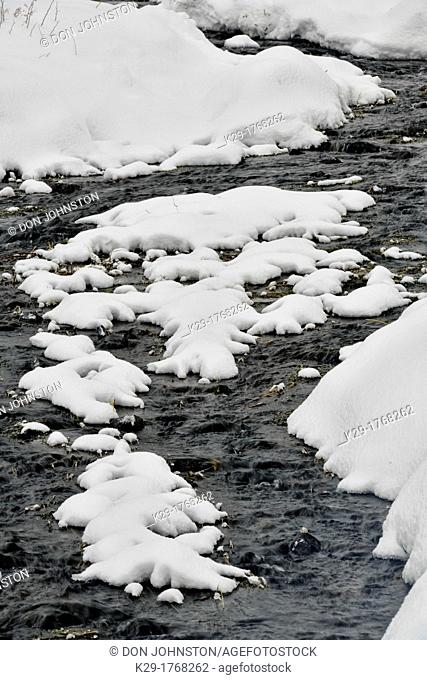 Fresh snow and running water in the Lamar Valley, Yellowstone NP, Wyoming, USA