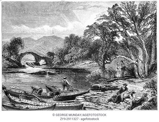 """1870: Boatmen near the Old Weir Bridge believed to date back to the sixteenth century at the spot known as the """"""""Meeting of the Waters"""""""""""