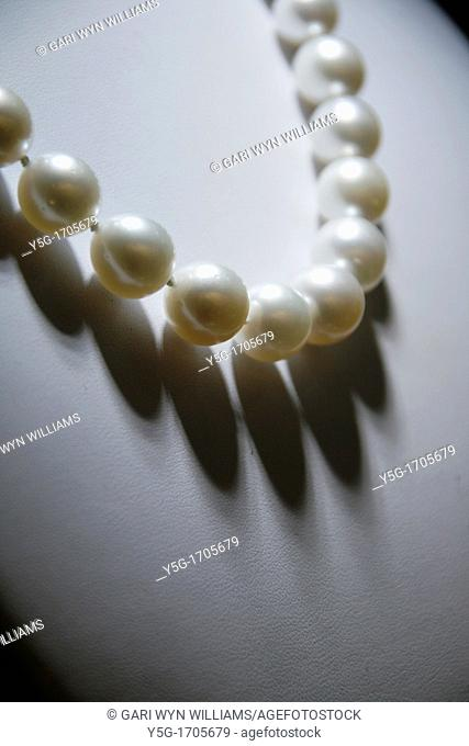 one pearl necklace on display in shop window