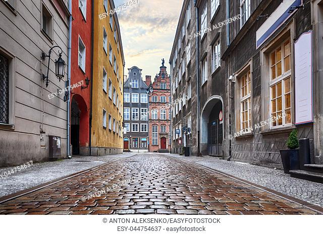 Old traditional street of Gdansk, Poland with no people