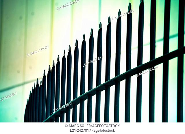 Security fence with spikes, iron railings. Barcelona, Catalonia, Spain