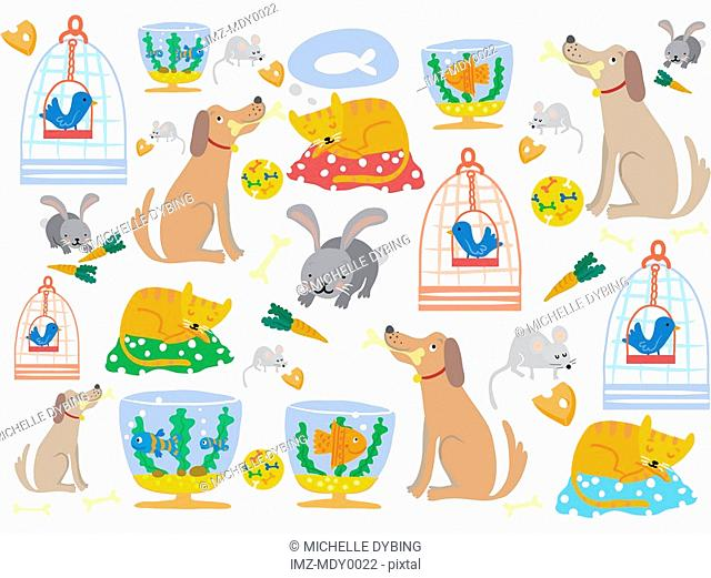 A pattern of pet dogs, cats, rabbits, mice, birds and fish