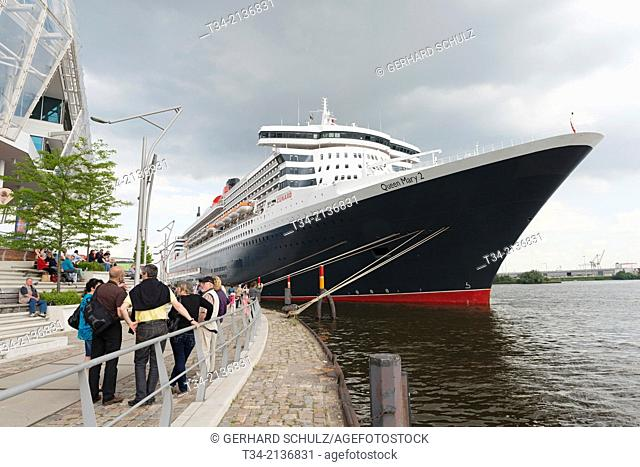 Queen Mary 2 at HafenCity, Hamburg Harbour, Germany