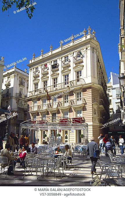 Facade of Pazos Miranda House. San Juan de Dios Square, Cadiz, Spain