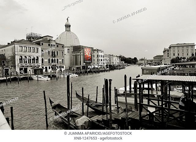 View of the Grand Canal and the Fondamenta San Simeon Piccolo Black and White with color poster in Venice, Italy