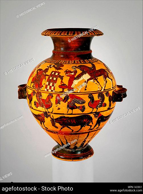 Terracotta hydria (water jar). Attributed to the Painter of London B 76; Period: Archaic; Date: ca. 560-550 B.C; Culture: Greek
