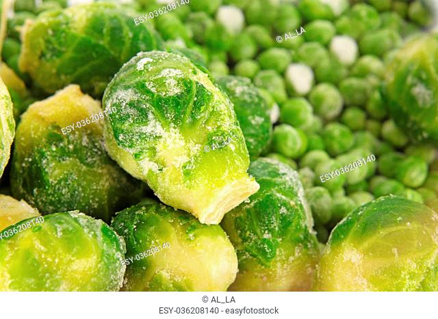 frozen Brussels sprouts background