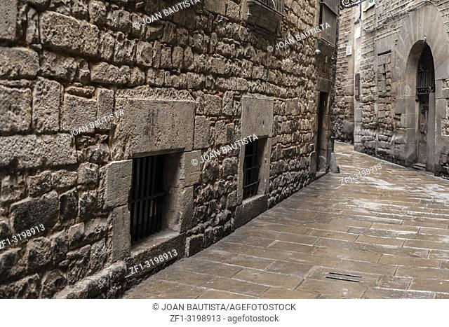 Ancient street in Call Jueu (Jewish quarter), gothic quarter of Barcelona
