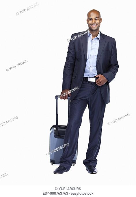 Full length portrait of a cheerful African American business man with luggage on white background