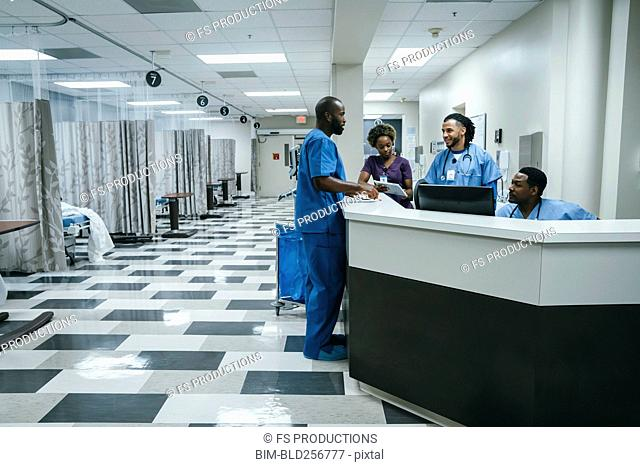 Nurses talking in hospital