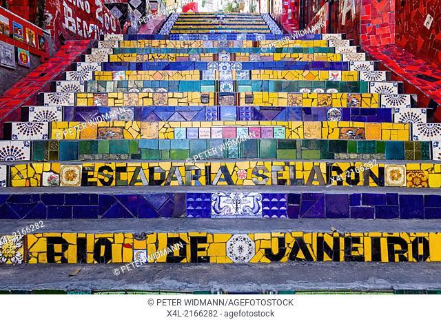Rio de Janeiro, Santa Teresa, Lapa, Escadeira de Selaron, Escadaria, Brazil
