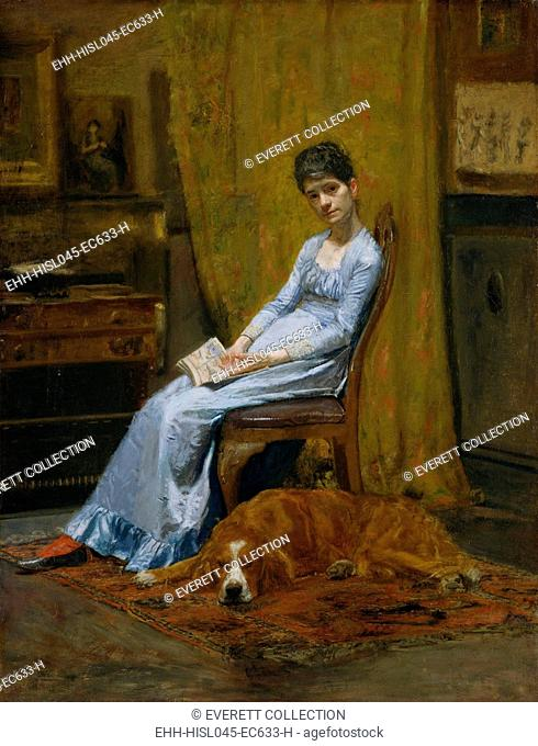 THE ARTIST WIFE AND HIS SETTER DOG, by Thomas Eakins, c. 1884-89, American painting, oil on canvas. Eakins portrait of his wife and his former student