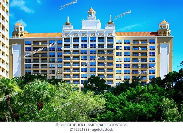 The Ritz-Carlton hotel building in Sarasota FL, USA