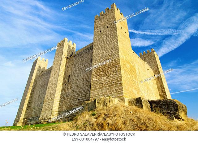 Castle in Sadaba with sky in Saragossa, Aragon, Spain