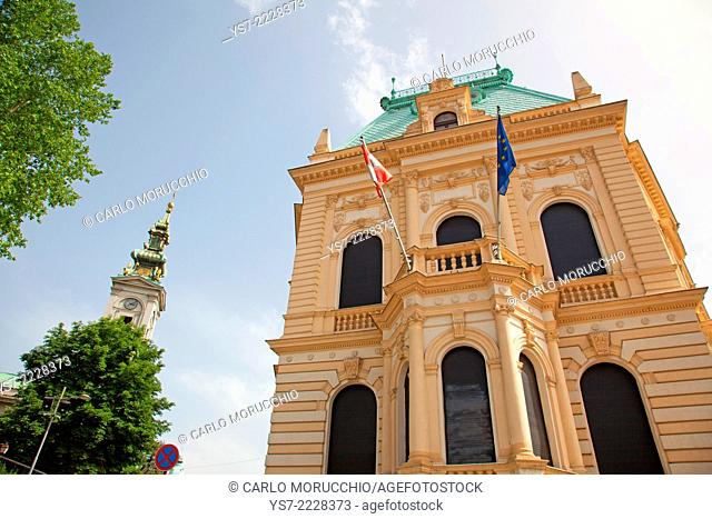 The Austrian Cultural Forum Belgrade and the Cathedral clock tower, Belgrade, Serbia