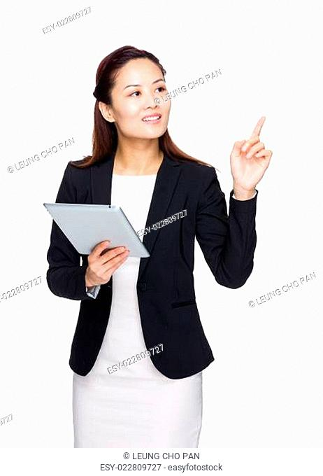 Business woman hold tablet with finger up