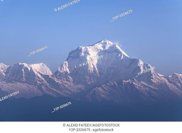 Sunrise over Himalaya mountains. Annapurna and Dhaulagiri Himals viewed from Poon Hill. Nepal