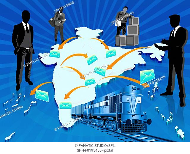 Illustration of railway mail service, India