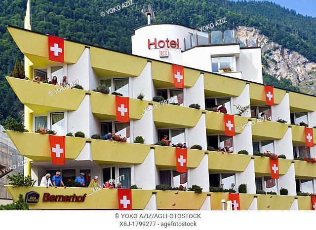 Switzerland, Canton Bern, Interlaken, festival in the 1st of August, flags